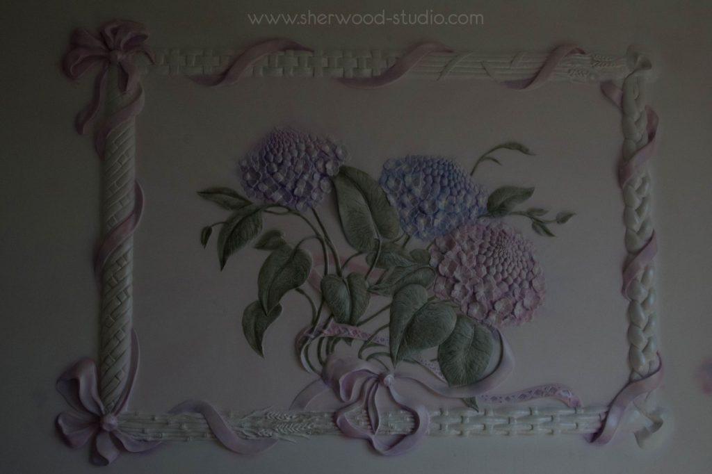 Барельеф на стену цветы