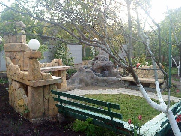 Барбекю и мини-фонтан